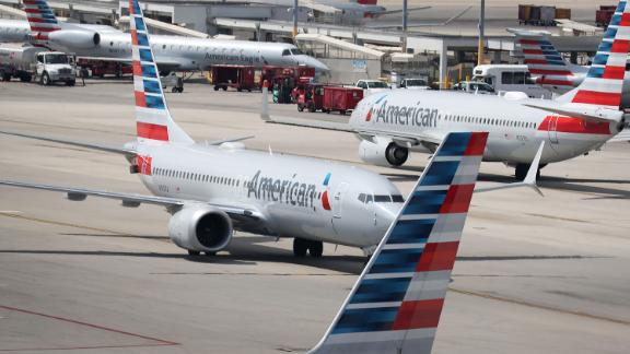 MIAMI, FL - MARCH 12:  An American Airlines Boeing 737 Max 8 arriving from Washington's Ronald Reagan National Airport is seen taxiing to its gate at the Miami International Airport on March 12, 2019 in Miami, Florida. The European Union along with other nations have grounded all Boeing 737 Max 8 and Max 9 jets, after the crash of a Max 8 being flown by Ethiopian Airlines that killed 157 people on Sunday. (Photo by Joe Raedle/Getty Images) (Photo by Joe Raedle/Getty Images)