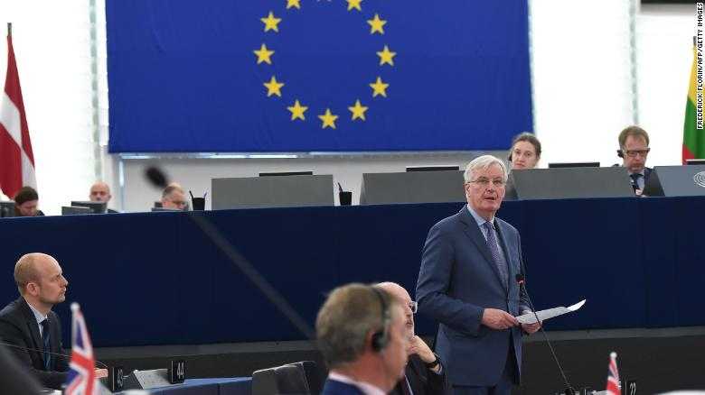 EU chief Brexit negotiator Michel Barnier (R) told Members of the European Parliament on Wednesday that the ball was firmly in London's court.