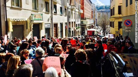 Protesters lined the streets outside the courthouse in Ancona after the acquittals.