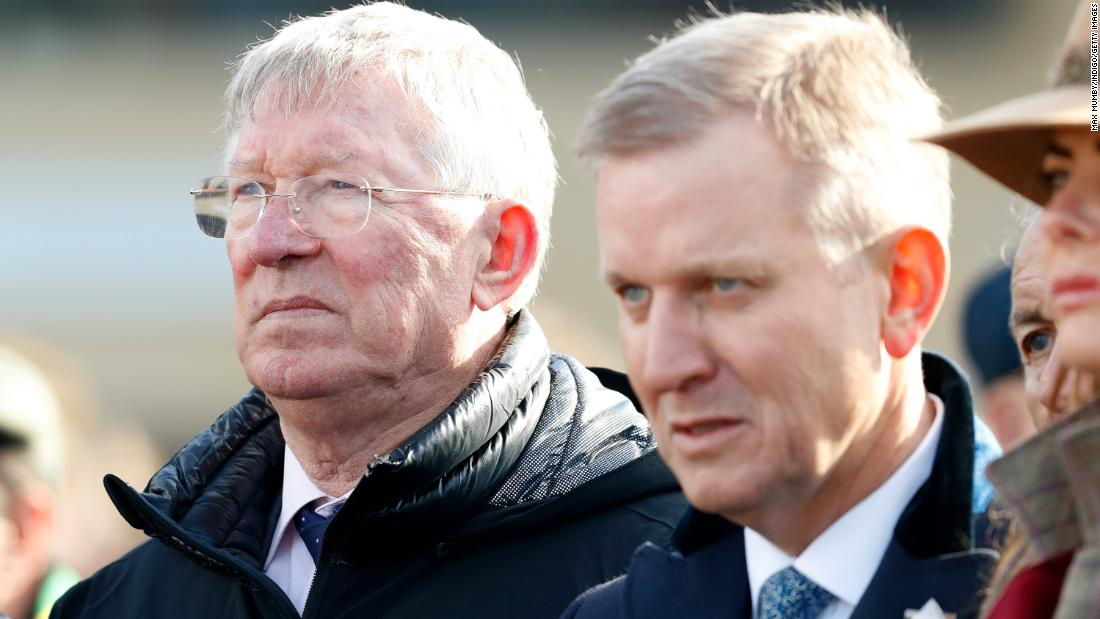 Former Manchester United manager Alex Ferguson (left) attended on day one. The Scot is a part owner of Gold Cup joint-favorite Clan Des Obeaux.