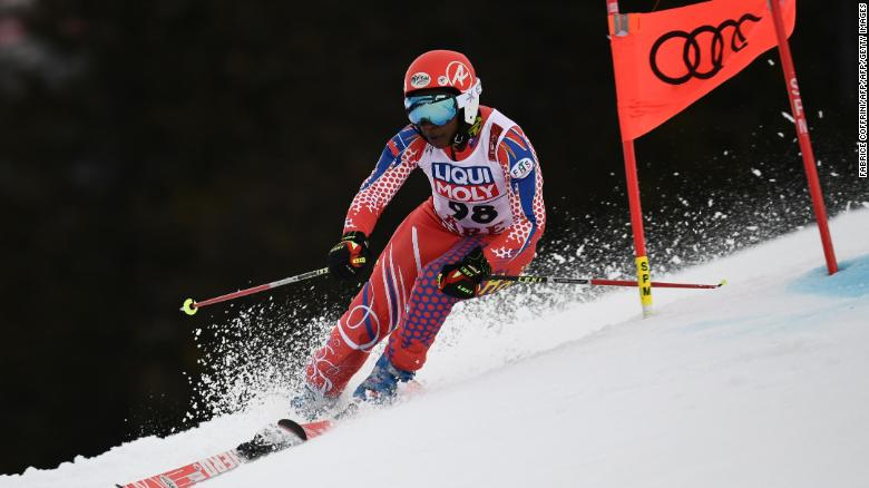 Marti competing in the giant slalom at the 2019 FIS Alpine Ski World Championships in Are.