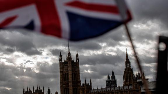 LONDON, ENGLAND - MARCH 13: A Union flag flies outside the Houses of Parliament on March 13, 2019 in London, England. Last night MPs voted 242 to 391 against British Prime Minister Theresa May