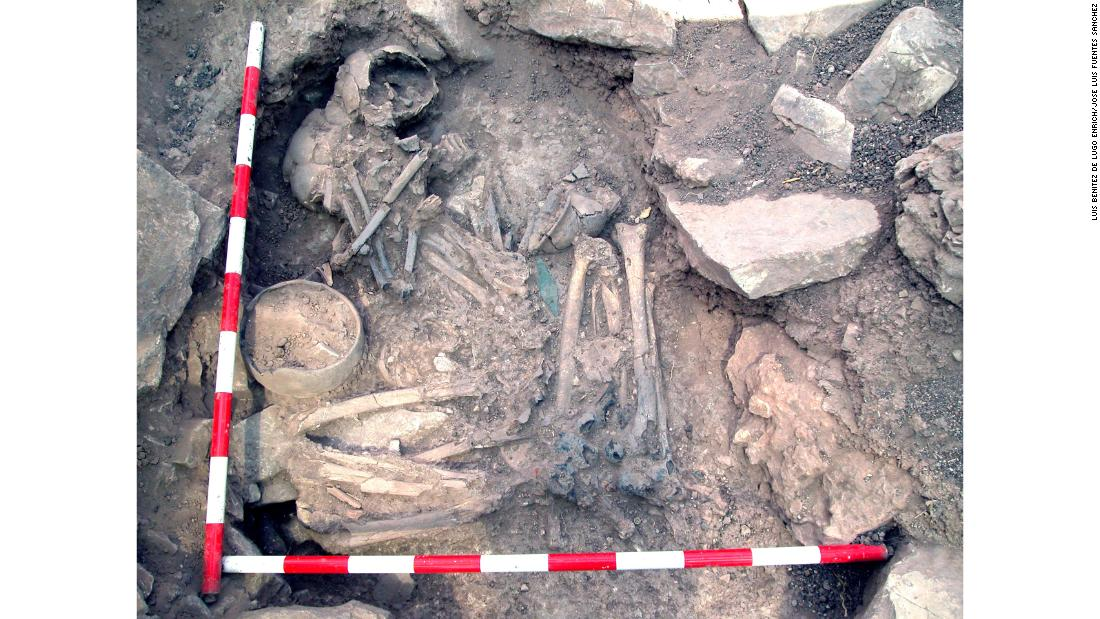During a study of the ancient Iberian population, the remains of a man and woman buried together at a Spanish Bronze Age site called Castillejo de Bonete showed that the woman was a local and the man's most recent ancestors had come from central Europe.
