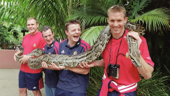 Dafydd James (right) with British and Irish Lions teammates Brian O'Driscoll, Rob Howley, and Scott Quinnell in Australia.
