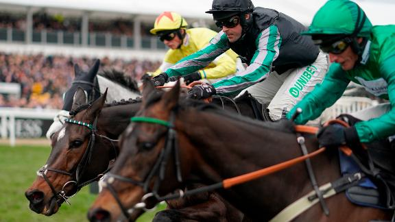 Altor (center), ridden by Nico de Boinville, made it 18 straight wins with victory in the feature race, the Queen Mother Champion Chase, on Ladies' Day Wednesday at the Cheltenham Festival.