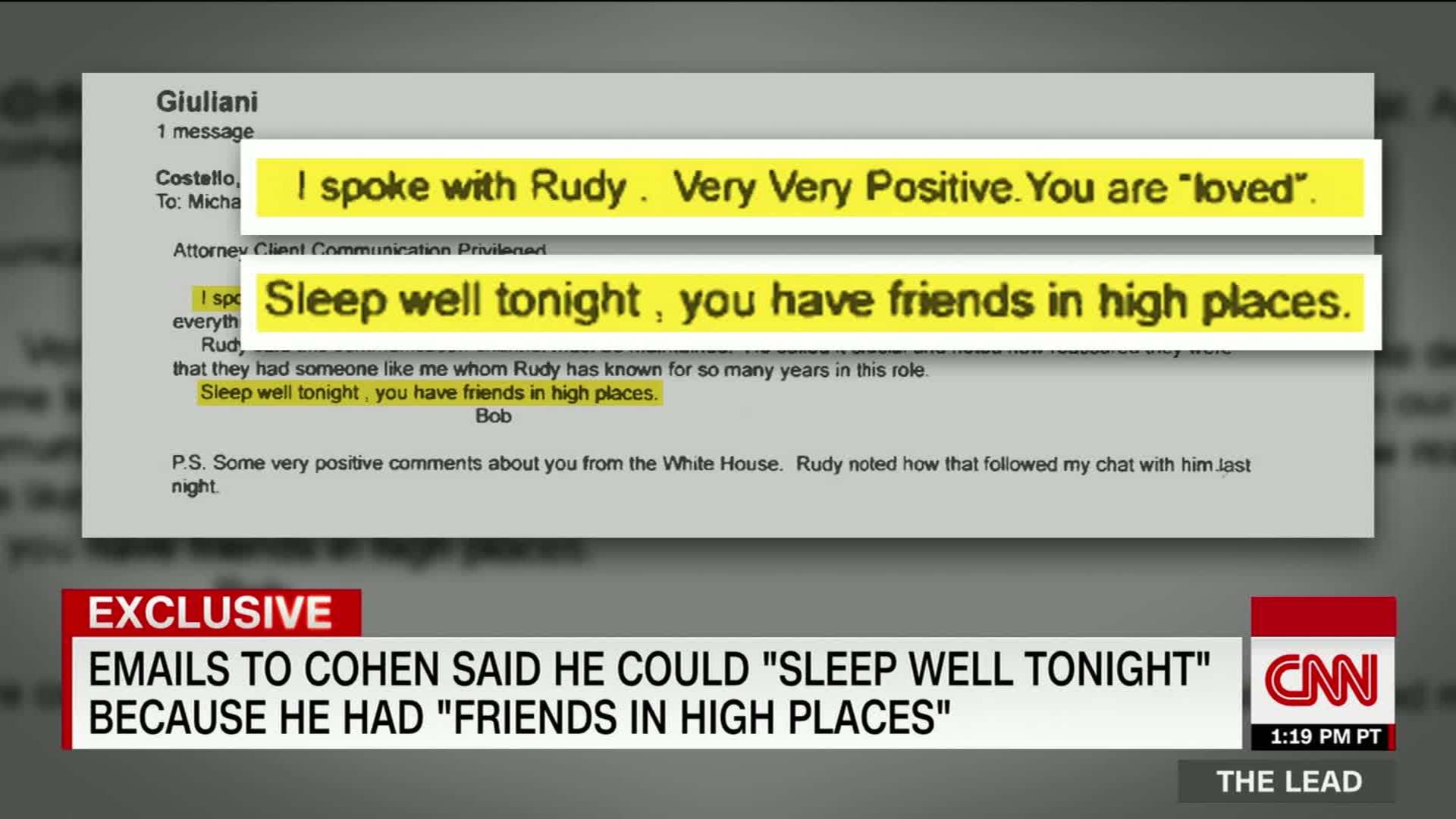 Lawyer told Cohen he could 'sleep well tonight' after talking with Giuliani