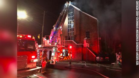 The fire started at the Trinity African Methodist Episcopal Zion Church early in the morning on Christmas.