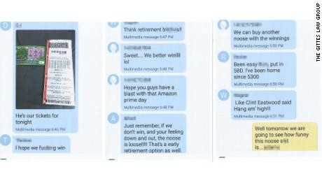 Screengrabs show an alleged group text with Slurs. CNN obscured parts of the text to remove identifying information and profanity.