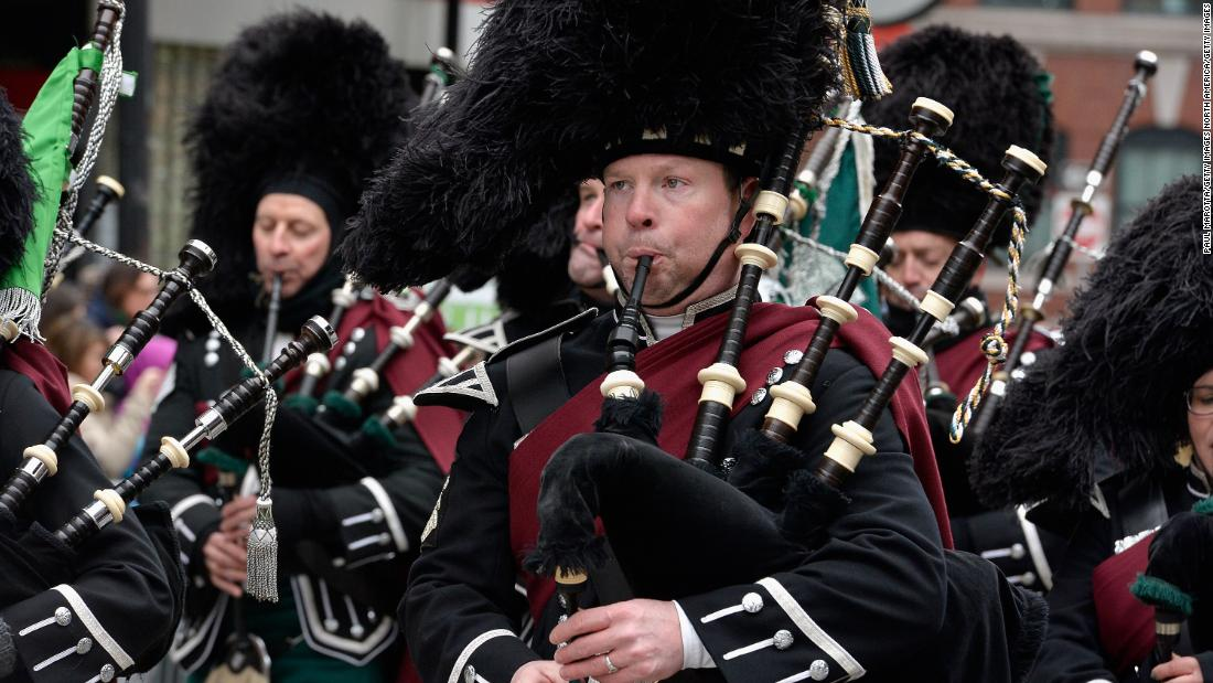 <strong>Boston:</strong> Bagpipers from New Jersey make the journey to Massachusetts to march in the 2017 parade.
