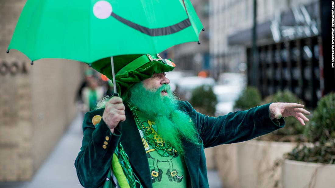 <strong>New York:</strong> Spectators also come in costumes. This scene is from the 2016 St. Patrick's Day Parade.