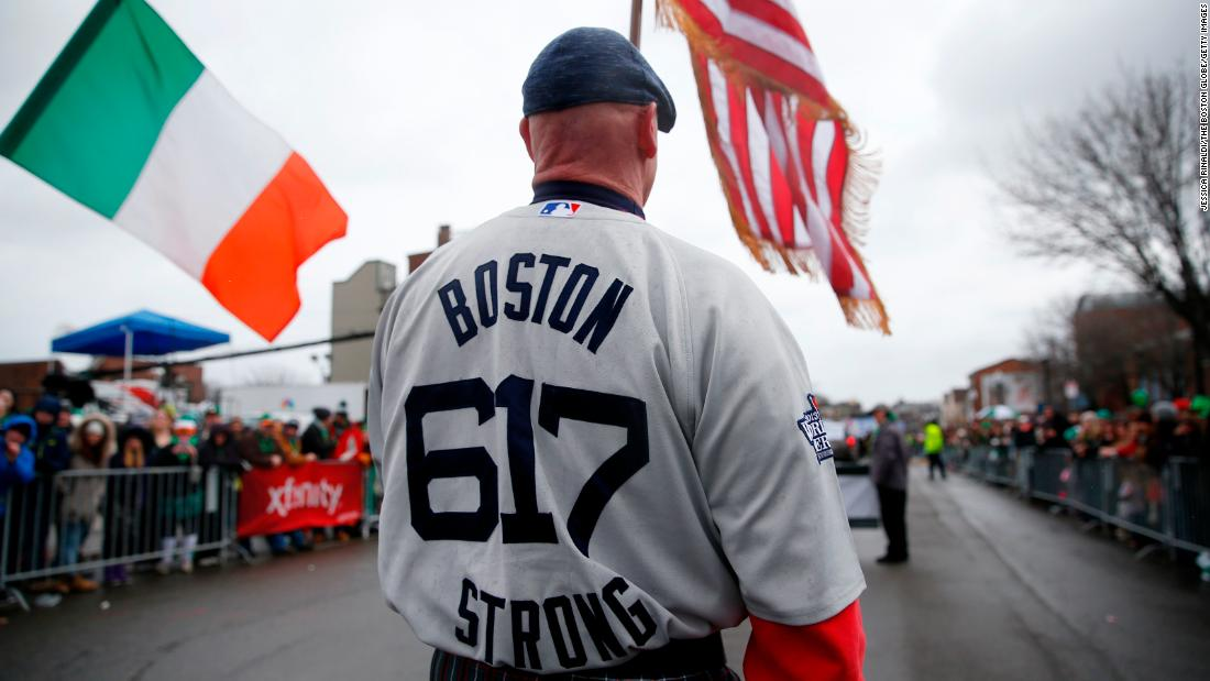 <strong>Boston: </strong>A bagpiper wears a Boston Strong jersey during the parade in the South Boston neighborhood in 2015.