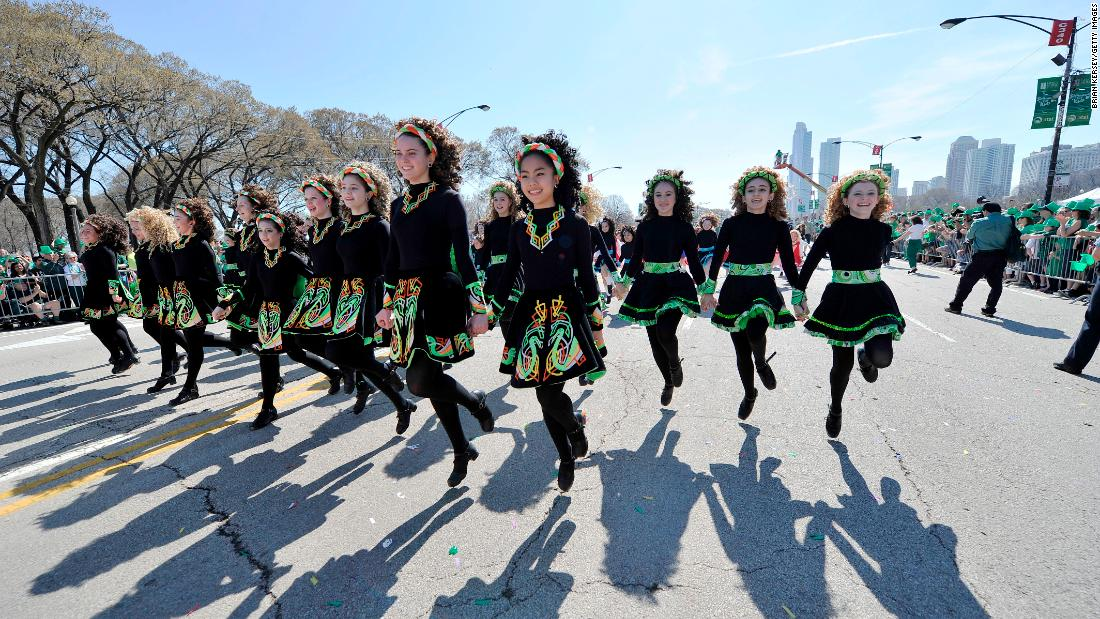 <strong>Chicago:</strong> Irish step dancers show off their moves at the 2012 parade, which saw high temperatures and sunny weather.