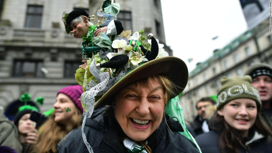 <strong>Dublin:</strong>  A spectator shows off her hat at the St. Patrick's Day Parade in 2018. Fittingly, the annual parade is billed as the largest of its kind in the world.
