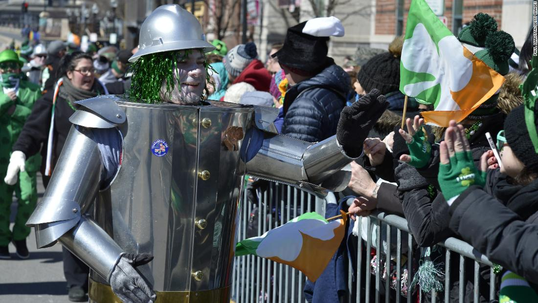 "<strong>Boston:</strong> Looks like the Tin Man from ""The Wizard of Oz"" also claims Irish heritage at Boston's St. Patrick's Day Parade in 2018."
