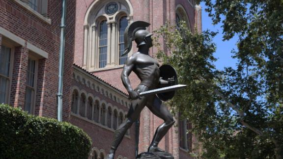 A view of the Tommy Trojan statue aka Trojan Shrine on the campus of the University of Southern California in Los Angeles, Wednesday, Aug. 15, 2018. (Kirby Lee via AP)