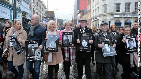 Families of those killed during Bloody Sunday march in Derry, also known as Londonderry, in Northern Ireland.