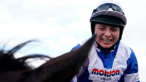 Bryony Frost celebrates becoming the first Grade 1 winner at the Cheltenham Festival.