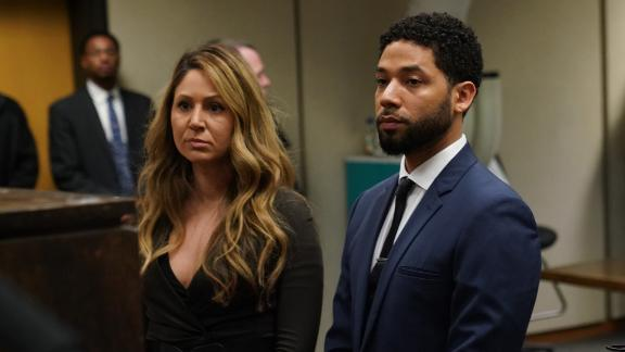 Jussie Smollet appears at a hearing for judge assignment with his attorney Tina Glandian, left, at Leighton Criminal Court Building, Thursday, March 14, 2019. (E. Jason Wambsgans/Pool/Chicago Tribune)