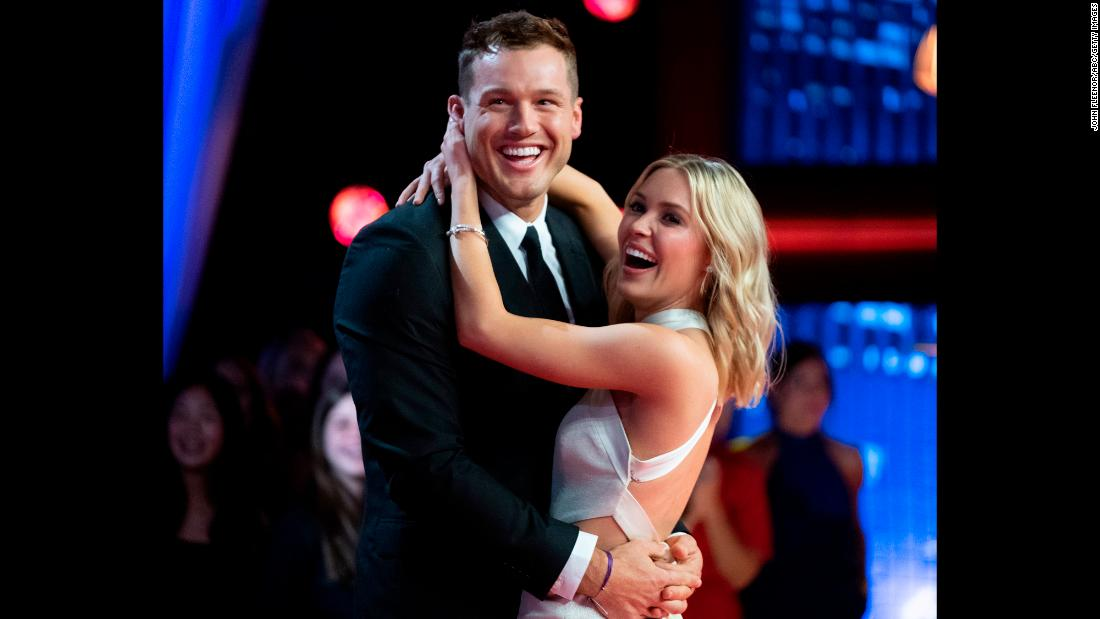 "Colton Underwood embraces Cassie Randolph on the season finale of ""The Bachelor"" on Tuesday, March 12. Underwood had previously been dumped by Randolph. But instead of choosing one of the two women left on the show, <a href=""https://www.cnn.com/2019/03/12/entertainment/bachelor-finale-colton-underwood-cassie-randolph/index.html"" target=""_blank"">he asked Randolph for another chance.</a> She agreed to get back with him, though the season ended without an engagement."