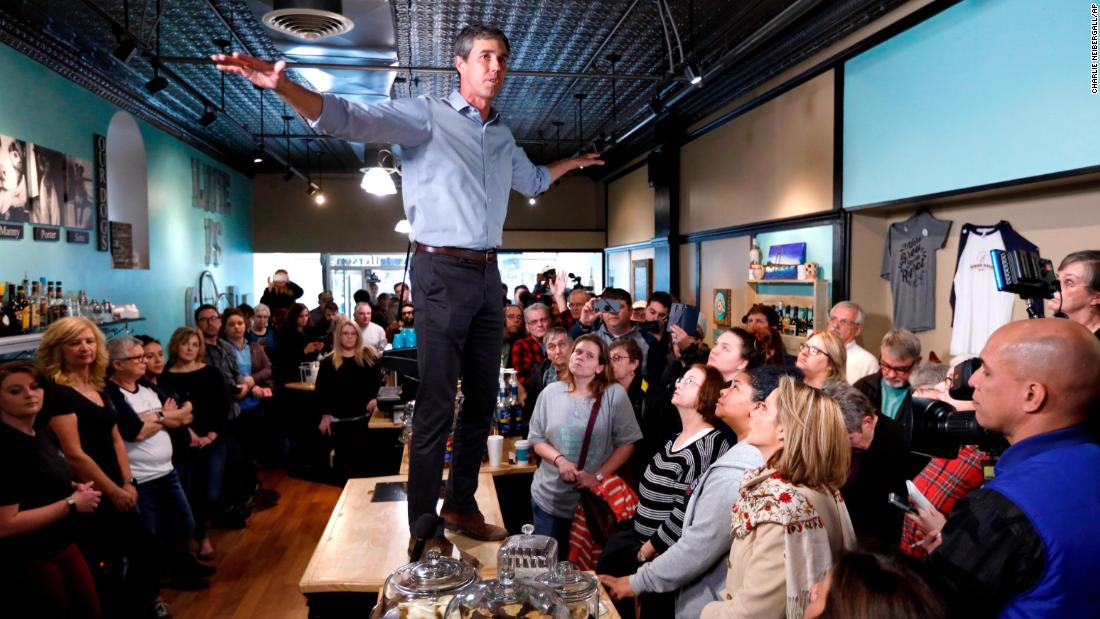 "Former Texas Rep. Beto O'Rourke speaks to residents during a meet and greet at the Beancounter Coffeehouse & Drinkery on March 14, in Burlington, Iowa. O'Rourke <a href=""https://www.cnn.com/2019/03/14/politics/beto-orourke-announces-2020-campaign/index.html"" target=""_blank"">announced Thursday</a> that he'll seek the 2020 Democratic presidential nomination, joining an already <a href=""https://www.cnn.com/interactive/2019/02/politics/2020-presidential-candidates-cnnphotos/index.html"" target=""_blank"">crowded field</a>."
