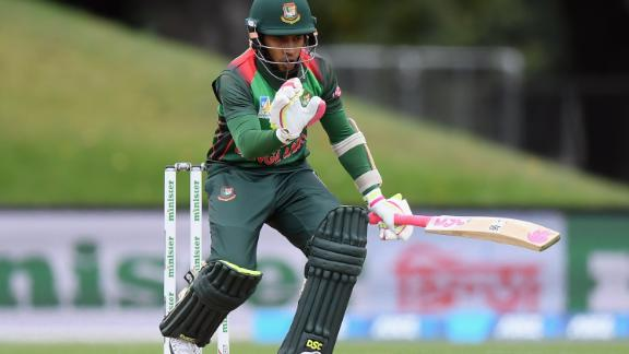 CHRISTCHURCH, NEW ZEALAND - FEBRUARY 16: Mohammad Mushfiqur Rahim of Bangladesh reacts during Game 2 of the One Day International series between New Zealand and Bangladesh at Hagley Oval on February 16, 2019 in Christchurch, New Zealand. (Photo by Kai Schwoerer/Getty Images)