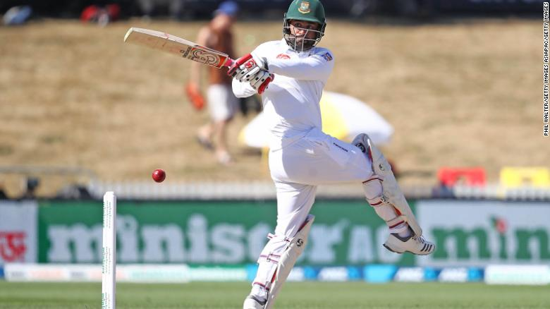 Bangladesh's Tamim Iqbal  bats during day three of the First Test match against New Zealand.