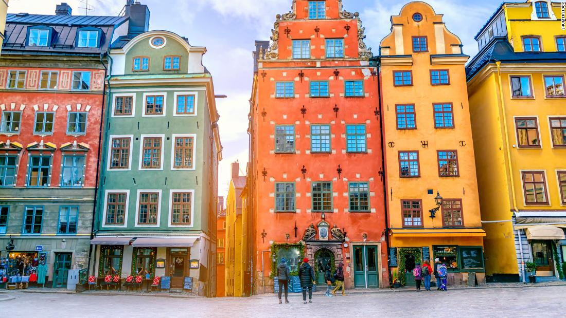 <strong>7. Sweden. </strong>Stroll the streets to find beautiful spots like Stortorget Square in the Old Town neighborhood in Stockholm, the capital of Sweden. Old Town (Gamla Stan) is the original town center, dating back to the 13th century.
