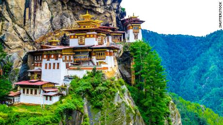 Taktshang Goemba(Tiger's Nest Monastery), Monastery, Bhutan, in a mountain cliff.