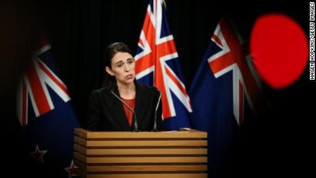 Prime Minister Jacinda Ardern speaking to the media following the attack.