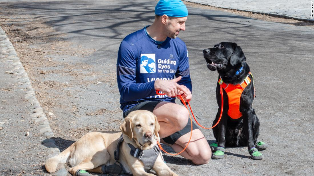 Blind runner, guide dog trio makes history in NYC Half Marathon