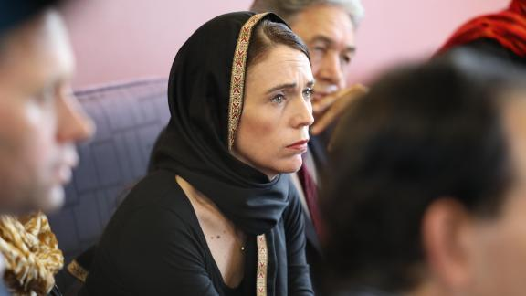 New Zealand Prime Minister Jacinda Ardern meets Muslim community representatives on March 16, 2019 in Christchurch, New Zealand. At least 49 people are confirmed dead, with more than 40 people injured following attacks on two mosques in Christchurch.