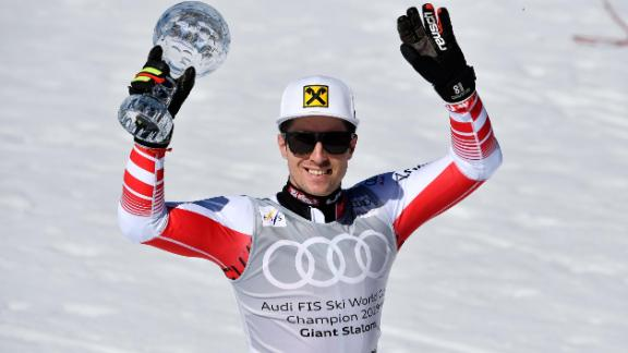 SOLDEU, ANDORRA - MARCH 16: Marcel Hirscher of Austria takes 1st place in the overall standings during the Audi FIS Alpine Ski World Cup Men