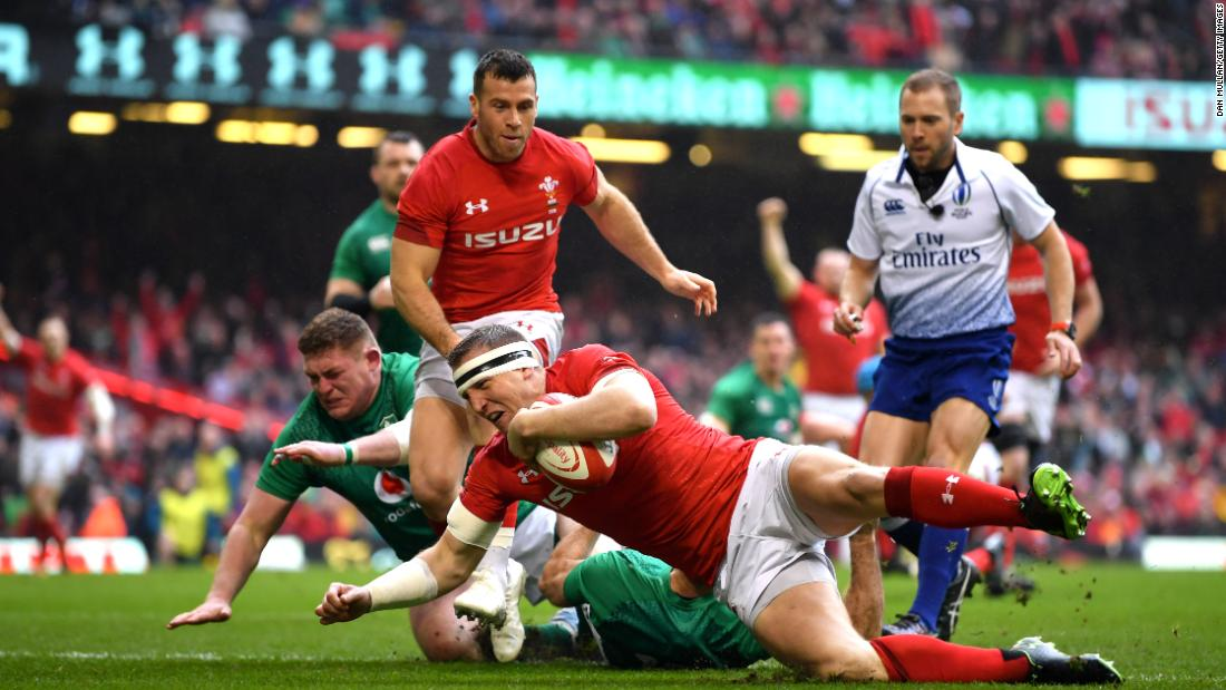 Hadleigh Parkes scored the first try for Wales as it trounced Ireland 25-7 to clinch the Grand Slam.