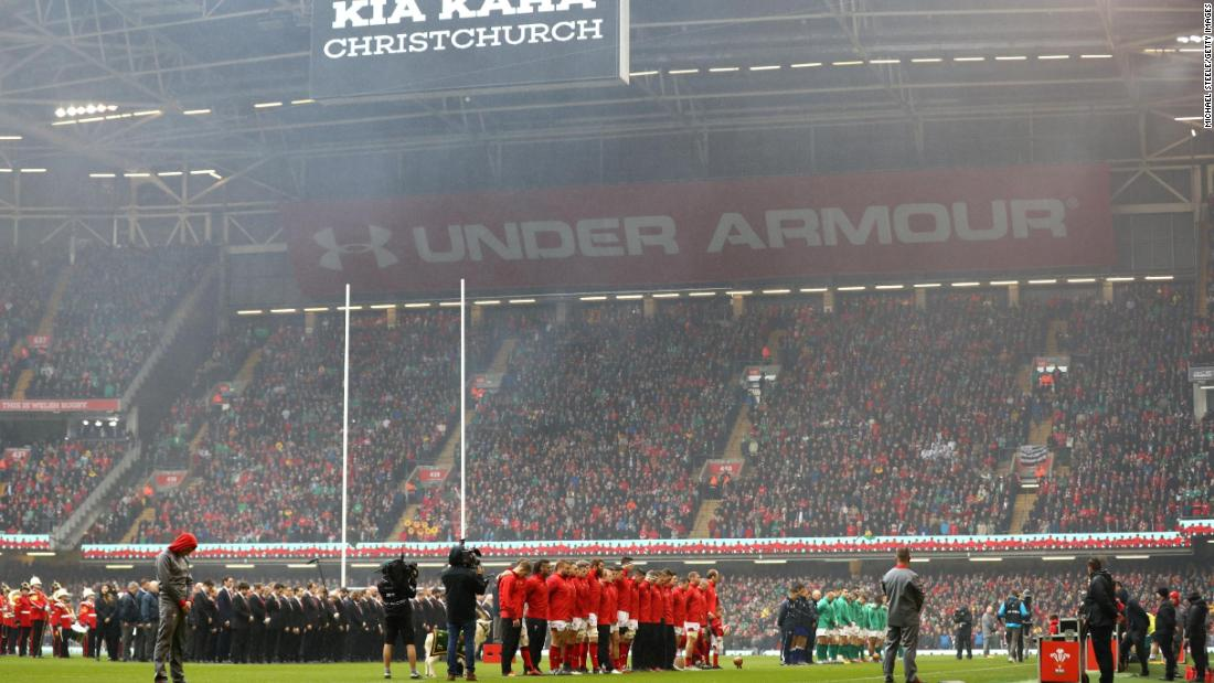 The players observed a minute's silence before the game for the victims of the New Zealand shooting massacre.
