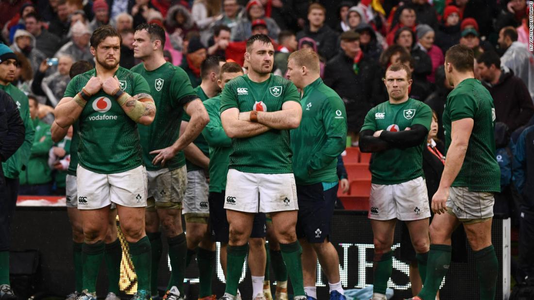 Ireland's players were dejected at the end.