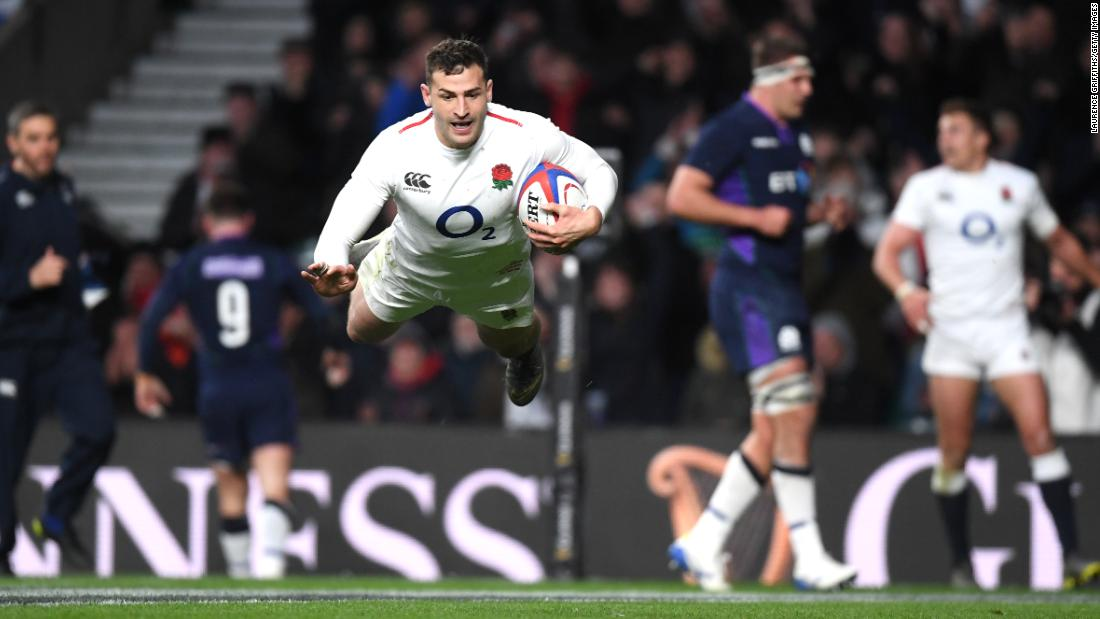 Jonny May was one of the early try scorers as England raced to a 31-0 lead.