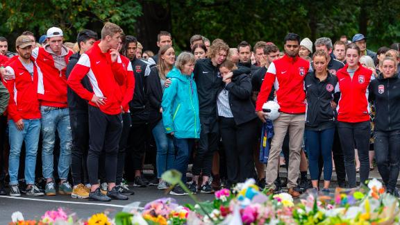 Mourners from New Zealand Football gather to commemorate the life of Atta Elayyan.