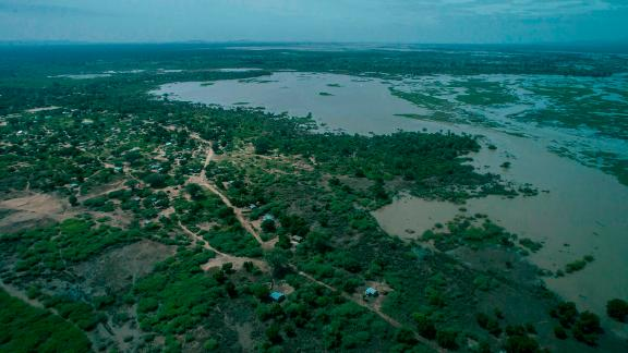 An aerial view shows flooded land in Bangula in the Nsanje district of southern Malawi, on March 15, 2019. - At least 56 people have died in flood-hit areas as of March 13, according to the government, while 577 had been injured and almost 83,000 people have been displaced. (Photo by AMOS GUMULIRA / AFP)        (Photo credit should read AMOS GUMULIRA/AFP/Getty Images)