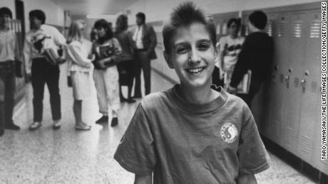 Ryan White smiled at Hamilton Heights High School in 1987.