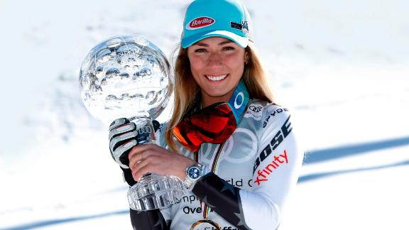 SOLDEU, ANDORRA - MARCH 17: Mikaela Shiffrin of USA wins the globe in the overall standings during the Audi FIS Alpine Ski World Cup Men
