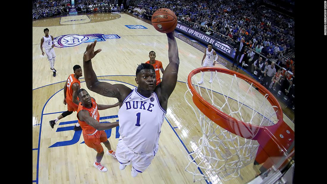 Zion Williamson of the Duke Blue Devils dunks the ball against the Syracuse Orange during their game in the quarterfinal round of the 2019 Men's ACC Basketball Tournament at Spectrum Center in Charlotte, North Carolina, on Thursday, March 14.