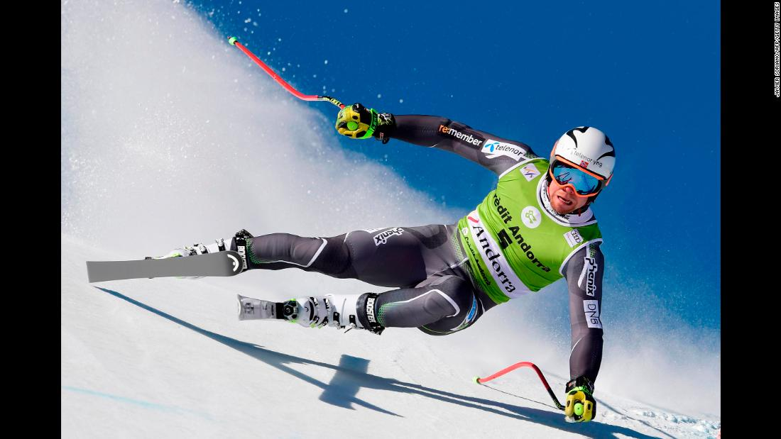 Norway's Aleksander Aamodt Kilde takes part in the training run for the men's downhill race of the FIS Alpine Ski World Cup Finals at Soldeu-El Tarter in Andorra on Tuesday, March 12.