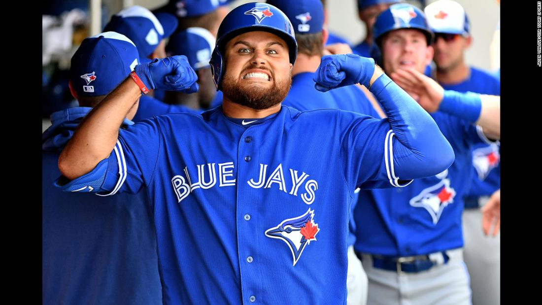 Toronto Blue Jays first baseman Rowdy Tellez celebrates after his two run home run in the first inning of the spring training game against the Minnesota Twins at CenturyLink Sports Complex in Fort Myers, Florida, on Sunday, March 10.