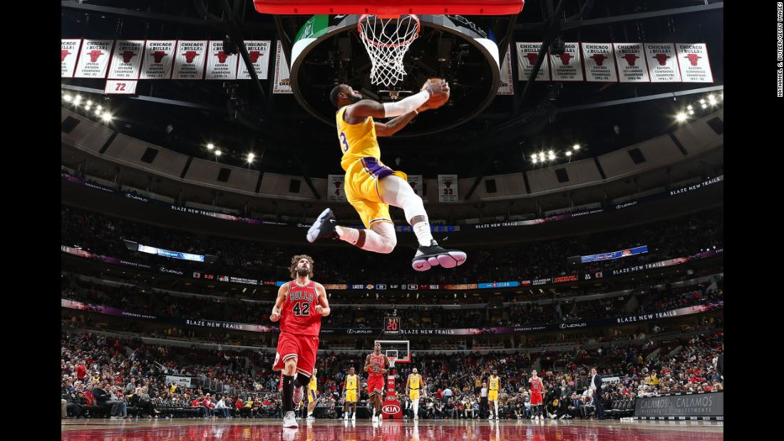 LeBron James of the Los Angeles Lakers dunks the ball against the Chicago Bulls at the United Center in Chicago on Tuesday, March 12.
