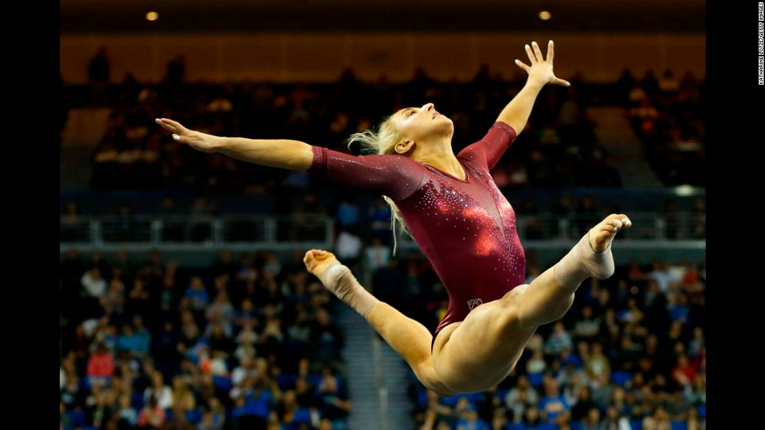 Kaylee Cole of Stanford competes in floor exercise during a meet against UCLA at Pauley Pavilion in Los Angeles on Sunday, March 10.