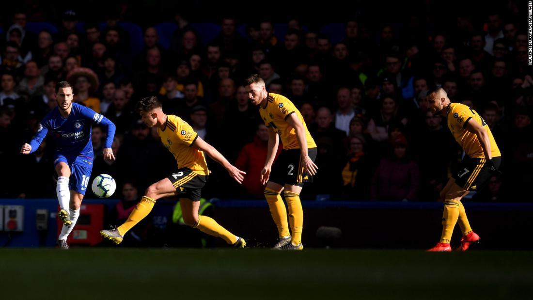 Eden Hazard of Chelsea plays the ball during the Premier League match between Chelsea FC and Wolverhampton Wanderers at Stamford Bridge in London on Sunday, March 10.