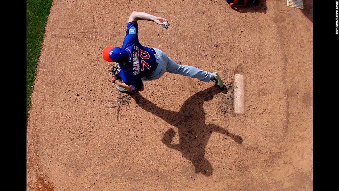 Pitcher Eric Hanhold of the New York Mets warms up in the bullpen during a spring training baseball game against the Houston Astros at Fitteam Ballpark of the Palm Beaches in West Palm Beach, Florida, on Monday, March 11.