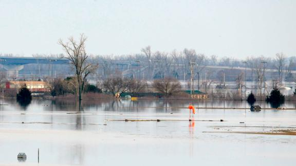 Rising waters from the Missouri River flooded about a third of Offutt Air Force Base, including about 3,000 feet of the base's 11,700-foot runway.