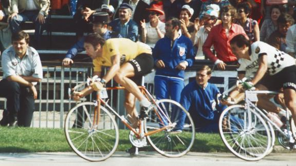 Merckx (yellow jersey) won the last of his record five Tour de France wins in 1974, seen her racing in the velodrome municipal in Vincennes on his way to victory.