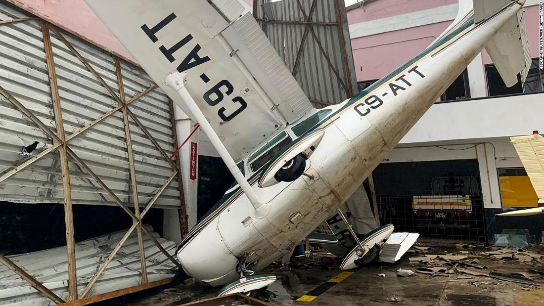 Damage is seen on March 18 at the airport in Beira in the aftermath of the passage of Cyclone Idai.